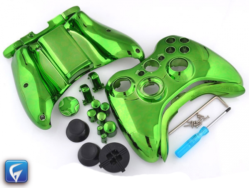 Xbox 360 Custom Controller Shell - Chrome Green - Chrome ...